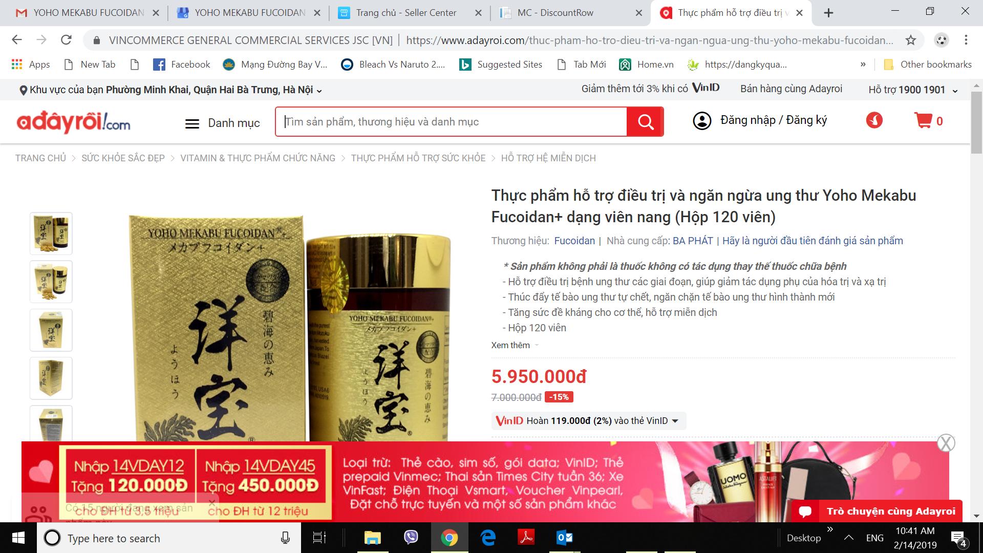 Mua thuốc Yoho trên web adayroi.com giảm giá 15%